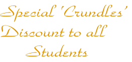 Special 'Crundles'  Discount to all        Students